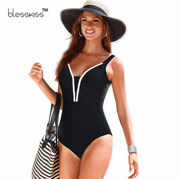 One Piece Swimsuit Plus Size Swimwear Women 2016 1 Vintage Large Retro Swimsuit Bathing Suit One-Piece Swim Suit Black 4XL