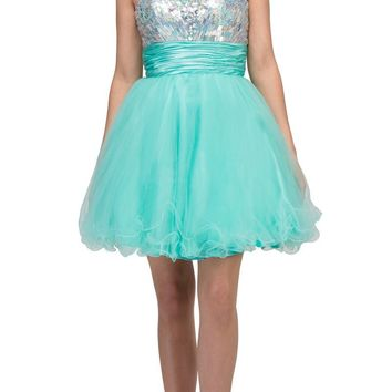 Studded Bodice Strapless Ruched Short Mint Sweet 15 Dress