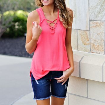 * Ansley Lace Up Tank : Coral