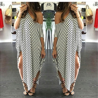 Sexy Women Short Sleeve Party Evening Cocktail Casual Striped Dress Long Dress [9221277188]
