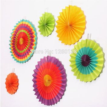 9packs Fiesta Paper Fan Decorations Wedding Backdrop Fan Cinco de Mayo Mexican Spanish Party Supplies Rosettes Fan