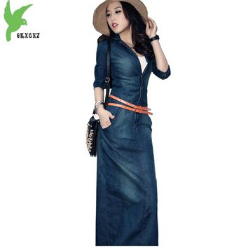 OKXGNZ 2018 New Female Denim Dress Pure Color Sexy Maxi Dress Europe United Temperament Women's Dress Leisure Cowboy Costume H72