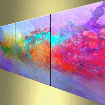 Cosmic Light Rush abstract modern art painting large by leearte
