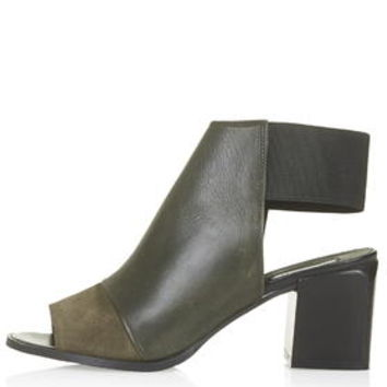 JACKPOT Elastic Back Mid-Heel Shoes - Olive