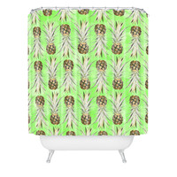 Lisa Argyropoulos Pineapple Jungle Green Shower Curtain