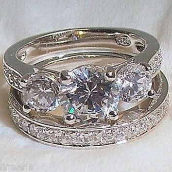 2.25ct Antique Estate Style Wedding Engagement Ring Set Solid Sterling Silver