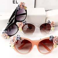 Baroque Sunglasses Floral Sunglasses Flower Fashion Sunglasses