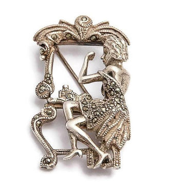 Art Deco Style Figural Lady at Her Vanity Brooch Sterling Silver and Marcasite, Vintage Brooch, Harp Player Brooch, Pendant Brooch Pin