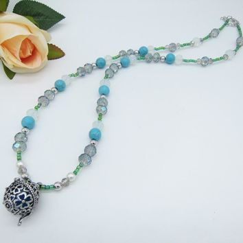 Turq Cracked Beads and Faceted Crystals Multi Beaded DIY Openable Cage Women`s Essential Oil Diffuser Necklace