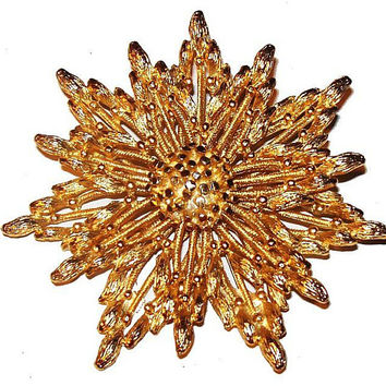 "BSK Gold Star Brooch Signed Filigree Cut Work Layered Festive BIG 3"" Vintage"