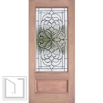 Decorative 3/4 Lite, Mahogany Single Entry Door, 36x80