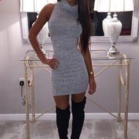 Calabasas Grey Cowl Neck Mini Dress | Pink Boutique