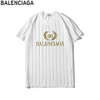 Balenciaga 2019 new hot drilling striped men and women round neck half sleeve T-shirt white