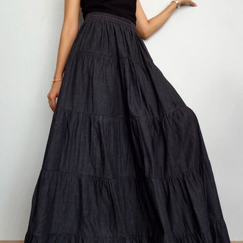 Women Long Skirt , Casual Ruffle Patchwork ,Cotton Denim Lightweight Medium black (Skirt *R2).