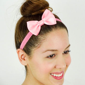 Candy Pink Hair Bow Headband