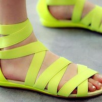 Roman cross strap PU sandals flat shoes from dreamgirl