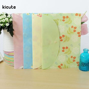4Pcs Fresh Flower Floral File Folder A4 Size School Supplies Carpeta File Bag Paper Portfolio Document School Office Supplies