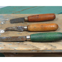 Trio of Vintage Woodworking & Upholstery Tools * Osborne Tack and Staple Remover * Wooden Handles * Flat Blade * Curved Knife