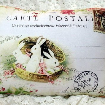 EASTER Bunny RABBIT Pillow, French Script, Paris Postcard, Easter Decor