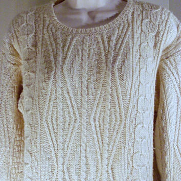 On Sale Vintage Oversized Cream Off-White Irish Knit Fisherman's Sweater Yarn Jumper