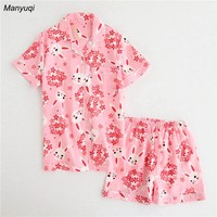 Cotton woman's summer pajamas short sleeves tops and shorts two pic pajamas set girls cartoon rabbit lounge pajamas for women