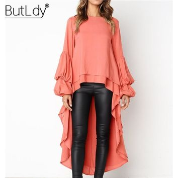 Ruffle Irregular Long Sleeve Sexy Dress Women 2018 Autumn Winter Casual Party Dress Loose Elegant Solid Clubwear Ladies Dresses