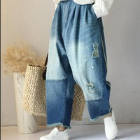 Yesno P93 Women Casual Ripped Distressed Cropped Denim Pants 100% Cotton Loose Boyfriend Jeans Trousers Elastic Waist Low Crotch