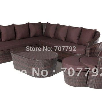 Sigma high quality outdoor PE rattan high back sofa set