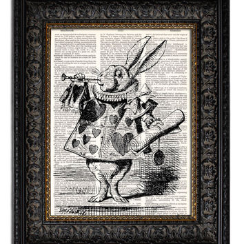ALICE IN WONDERLAND WHITE RABBIT & TRUMPET Dictionary Art Print