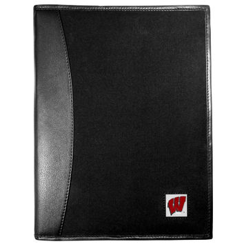 Wisconsin Badgers Leather and Canvas Padfolio CPAD51