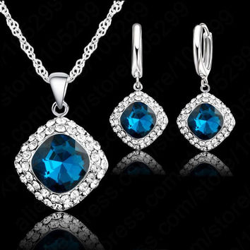 Hottest 925 Sterling  Silver Crystal Necklace Jewelry Set ,Colorful Crystal Rhinestone Necklace Earring Jewelry Promotion Price
