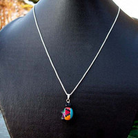 Turtle inlaid necklace MOTHER EARTH (smaller version) sterling silver