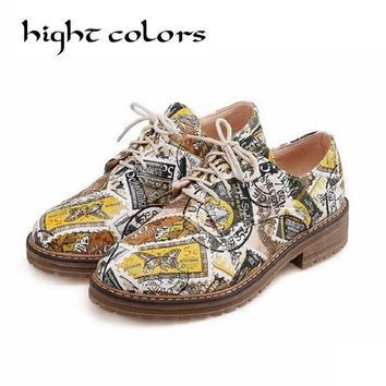 Fashion Retro Printing Leather Oxford Shoes For Women Flats Lace Up Causal Brogues Shoes Low Heel Ladies Shoes Zapatos Mujer