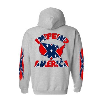 Men's Rebel Flag Pullover Hoodie Defend America 4 Sides Graphic