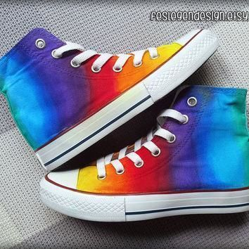 rainbow custom converse colorful painted shoes