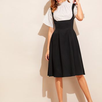Adjustable Strap Pleated Pinafore Dress