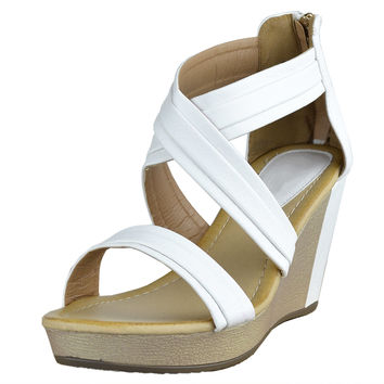 Womens Platform Sandals Cross Strap Two Tone High Wedge Shoes White SZ
