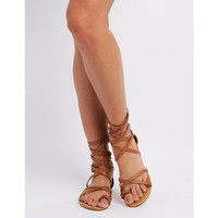 Qupid Crisscross Ankle Wrap Sandals