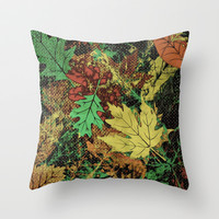 when leaves fall Throw Pillow by Laura Santeler
