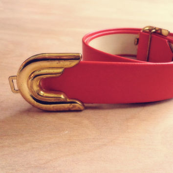 Vintage Burnt Orange Belt with Gold Buckle