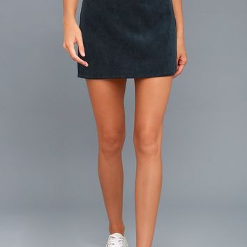 Head of the Class Navy Blue Corduroy Mini Skirt