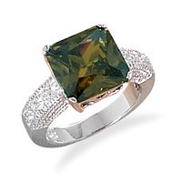 Rhodium Plated Olive Cubic Zirconia Ring