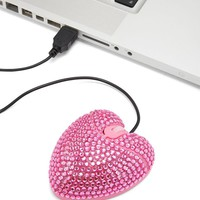 Rhinestone Heart USB Mouse