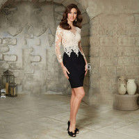 Elegant Hot Sale Fashion Sheath Lace Short Cocktail Dress Long Sleeves V-Neck Party Gown Knee Length Appliques Elegant Dress