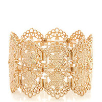 Gold Flower Filigree Stretch Bracelet