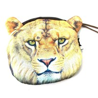 Realistic Lion Face Shaped Soft Fabric Zipper Photo Print Coin Purse Make Up Bag