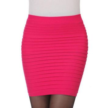 2017 Winter Autumn Women Sexy Bodycon Pleated Bodycon Package Hip Slim Elastic Pencil High Waist Office Lady Mini Skirts #1122