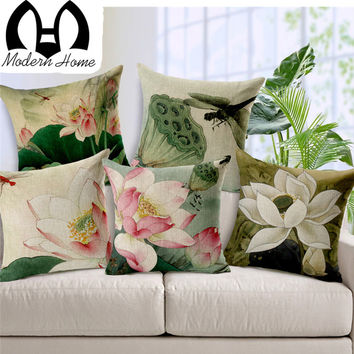 MHome  Retro Chinese Style Lotus Creative Cotton Seat Cushion Office Car Sofa Cushion Home Decoration Cushion Cover Pillow Case