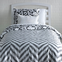 Urban Ikat / Tiled Chevron Reversible Duvet Cover and Sham Set