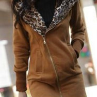 Leopard Printed Zippered Long Sleeve Hoodie